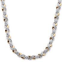 SETA JEWELRY 1/5 TCW Diamond X and O Necklace in 18k Gold-Plated