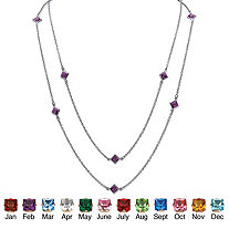 Princess-Cut Birthstone Station Necklace in Silvertone