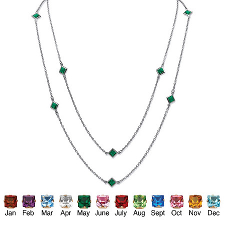 Princess-Cut Birthstone Station Necklace in Silvertone at PalmBeach Jewelry