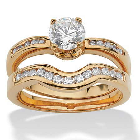 1.27 TCW Round Cubic Zirconia Two-Piece Bridal Ring Set 18k Gold-Plated at PalmBeach Jewelry