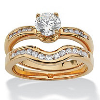 1.27 TCW Round Cubic Zirconia Two-Piece Bridal Ring Set 18k Gold-Plated