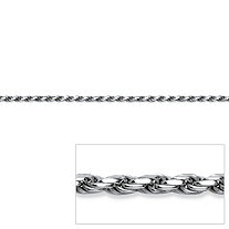 "Diamond-Cut Rope Chain Necklace in Sterling Silver 24"" (2.5mm)"