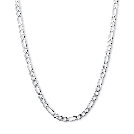 Figaro Link Chain Necklace in Sterling Silver 20