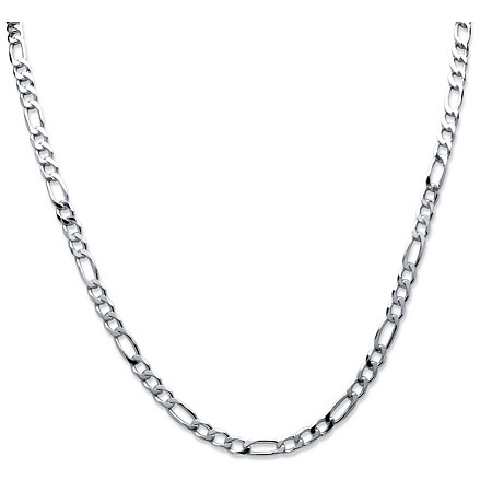 "Figaro-Link Chain Necklace in Sterling Silver 24"" (5.5mm) at PalmBeach Jewelry"