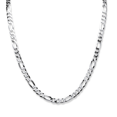 Figaro-Link Chain Necklace in Sterling Silver 22