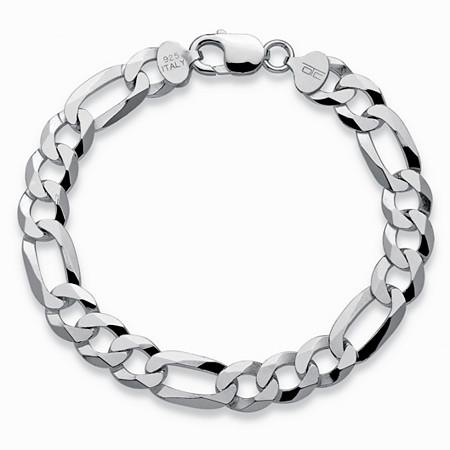 Figaro-Link Chain Bracelet in Sterling Silver 8.5