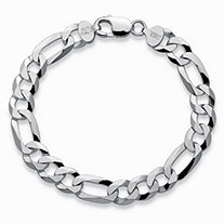 "Figaro-Link Chain Bracelet in Sterling Silver 8.5"" (10mm)"