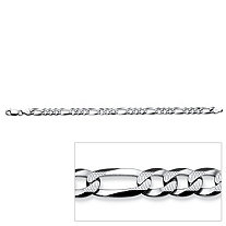 "Figaro-Link Chain Bracelet in Sterling Silver 8.5"" (6.5mm)"