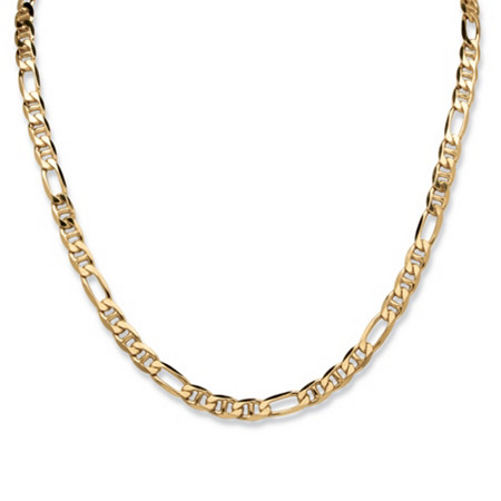 Figaro-Link Chain Necklace in 18k Gold over Sterling Silver 22