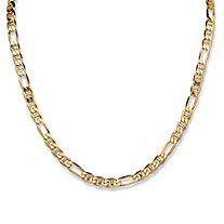 "Figaro-Link Chain Necklace in 18k Gold over Sterling Silver 22"" (6.5mm)"
