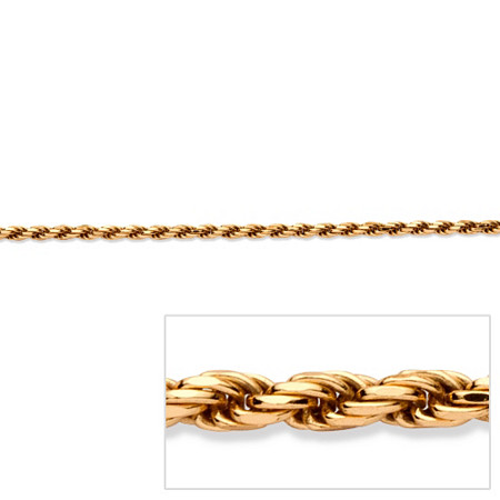 Rope Chain Necklace in 18k Gold over Sterling Silver 24