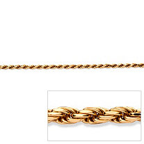 "Rope Chain Necklace in 18k Gold over Sterling Silver 24"" (3.5mm)"