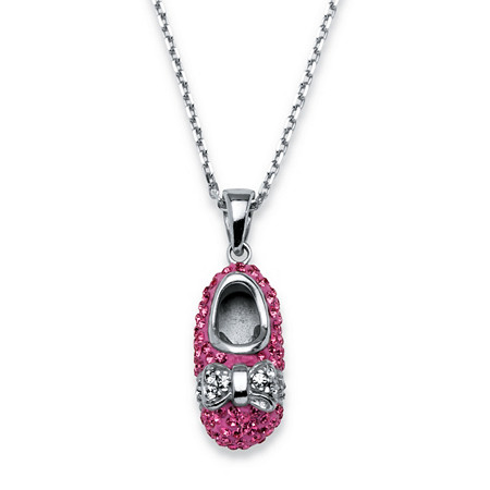 Pink Shoe Pendant Necklace MADE WITH SWAROVSKI ELEMENTS in Sterling Silver at PalmBeach Jewelry