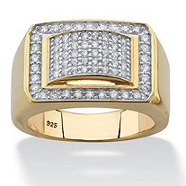 SETA JEWELRY 1.05 TCW Men's Cubic Zirconia Geometric Ring in 18k Gold over Sterling Silver