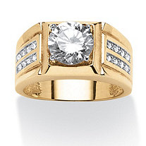 SETA JEWELRY Men's 1.89 TCW Round Cubic Zirconia Ring in 18k Gold over Sterling Silver