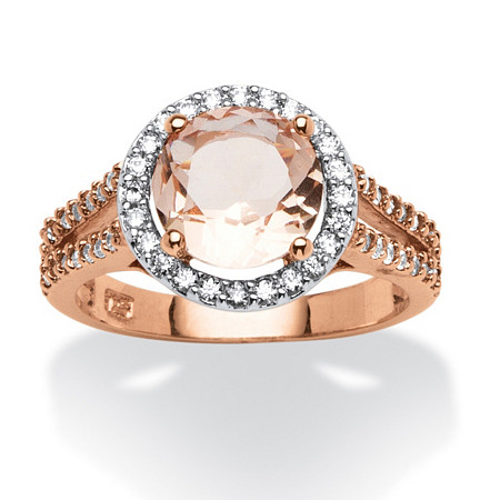 Round Morganite and .50 TCW Cubic Zirconia Halo Ring in Rose Gold over Sterling Silver at PalmBeach Jewelry
