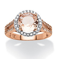 Round Peach Crystal and .50 TCW Cubic Zirconia Halo Ring in Rose Gold over Sterling Silver