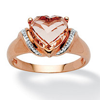 Heart-Cut Peach Crystal Ring in Rose Gold over .925 Sterling Silver