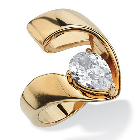 1.80 TCW Pear-Cut Cubic Zirconia Gold Ion-Plated Nestled Ring at PalmBeach Jewelry