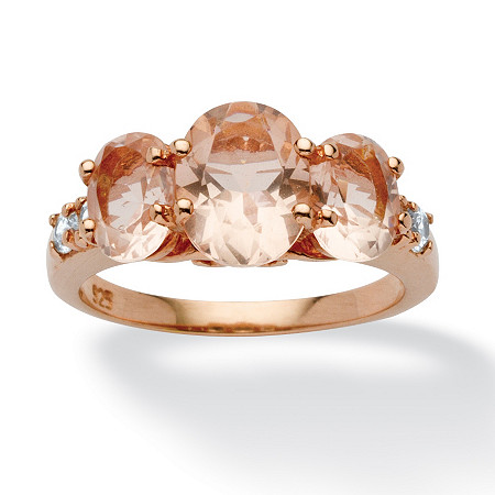 .24 TCW Oval-Cut Peach Crystal and Cubic Zirconia Accent Ring in Rose Gold over Sterling Silver at PalmBeach Jewelry