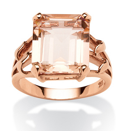 Emerald-Cut Simulated Morganite Ring in 18k Rose Gold over .925 Sterling Silver at PalmBeach Jewelry