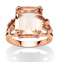 Emerald-Cut Peach Crystal Ring in 18k Rose Gold over .925 Sterling Silver