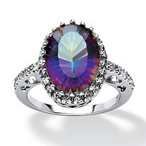 5.64 TCW Mystic Fire Quartz and Cubic Zirconia Accent Ring in Platinum over Sterling Silver