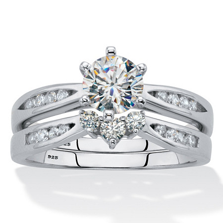 2 Piece 1.22 TCW Cubic Zirconia Bridal Ring Set in Sterling Silver at PalmBeach Jewelry