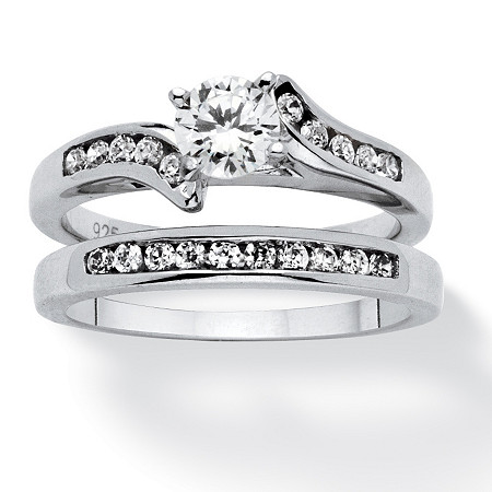 2 Piece 1 TCW Cubic Zirconia Bridal Ring Set in Sterling Silver at PalmBeach Jewelry