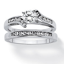SETA JEWELRY 2 Piece 1 TCW Cubic Zirconia Bridal Ring Set in Sterling Silver