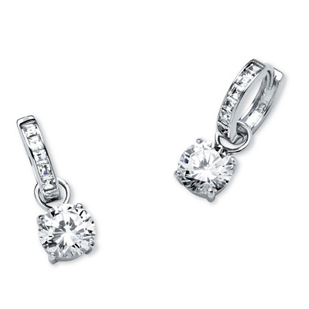 4.40 TCW Cubic Zirconia Huggie Hoop Earrings in Platinum over Sterling Silver at PalmBeach Jewelry