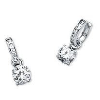 "4.40 TCW Cubic Zirconia Huggie Hoop Earrings in Platinum over Sterling Silver (1"")"