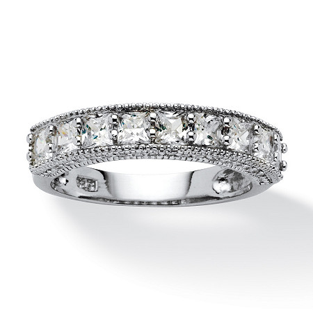 1.48 TCW Princess-Cut Cubic Zirconia Milgrain Ring in Platinum over Sterling Silver at PalmBeach Jewelry