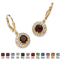 Birthstone Halo Drop Earrings in 18k Gold over .925 Sterling Silver