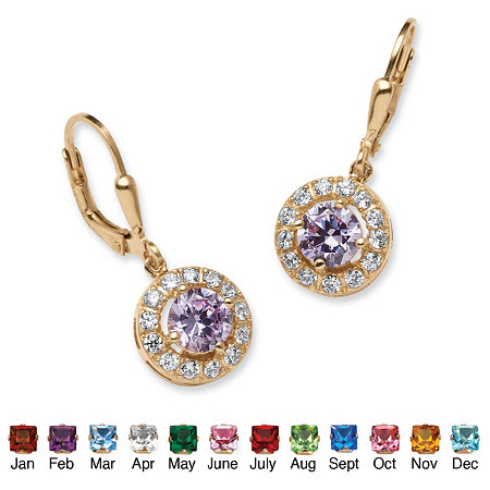 Birthstone Halo Drop Earrings in 18k Gold over .925 Sterling Silver at PalmBeach Jewelry