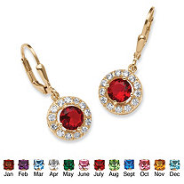 Simulated Birthstone Halo Drop Earrings in 18k Gold over .925 Sterling Silver