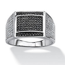 SETA JEWELRY Men's .95 TCW Black and White Micro-Pave Cubic Zirconia Ring in Platinum over Sterling Silver