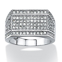 SETA JEWELRY Men's 1.65 TCW Cubic Zirconia Geometric Row Ring in Platinum over Sterling Silver