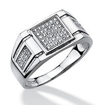 Men's .28 TCW Micro-Pave Cubic Zirconia Square Ring in Platinum over Sterling Silver