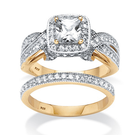 1.78 TCW Princess-Cut Cubic Zirconia Two-Piece Bridal Set in 18k Gold Over .925 Sterling Silver at PalmBeach Jewelry