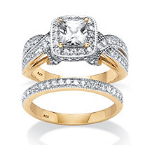 SETA JEWELRY 1.78 TCW Princess-Cut Cubic Zirconia Two-Piece Bridal Set in 18k Gold Over .925 Sterling Silver