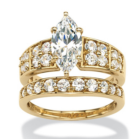 3.08 TCW Marquise-Cut and Round Cubic Zirconia 2-Piece Bridal Set in 18k Gold over Sterling Silver at PalmBeach Jewelry