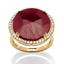 14.35 TCW Round Ruby and Cubic Zirconia Halo Ring in 18k Gold over Sterling Silver