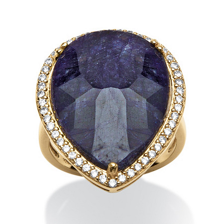 18.63 TCW Pear-Cut Midnight Blue Sapphire and Cubic Zirconia Ring in 18k Gold over Sterling Silver at PalmBeach Jewelry