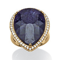 18.63 TCW Pear-Cut Midnight Blue Sapphire and Cubic Zirconia Ring in 18k Gold over Sterling Silver