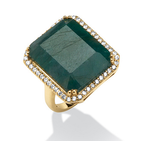 18.88 TCW Emerald-Cut Green Sapphire and Cubic Zirconia Ring in 18k Gold over Sterling Silver at PalmBeach Jewelry