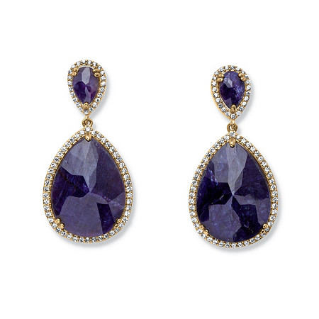 41.18 TCW Genuine Midnight Blue Sapphire and Cubic Zirconia Earrings in 18k Gold over Sterling Silver at PalmBeach Jewelry