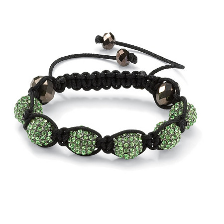 Green Crystal Beaded Macrame Rope Adjustable Bracelet 8