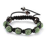 Green Crystal Beaded Macrame Rope Adjustable Bracelet 8""
