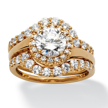 2.53 TCW Round Cubic Zirconia Halo Bridal Ring 3-Piece Set in 18k Gold over Sterling Silver at PalmBeach Jewelry
